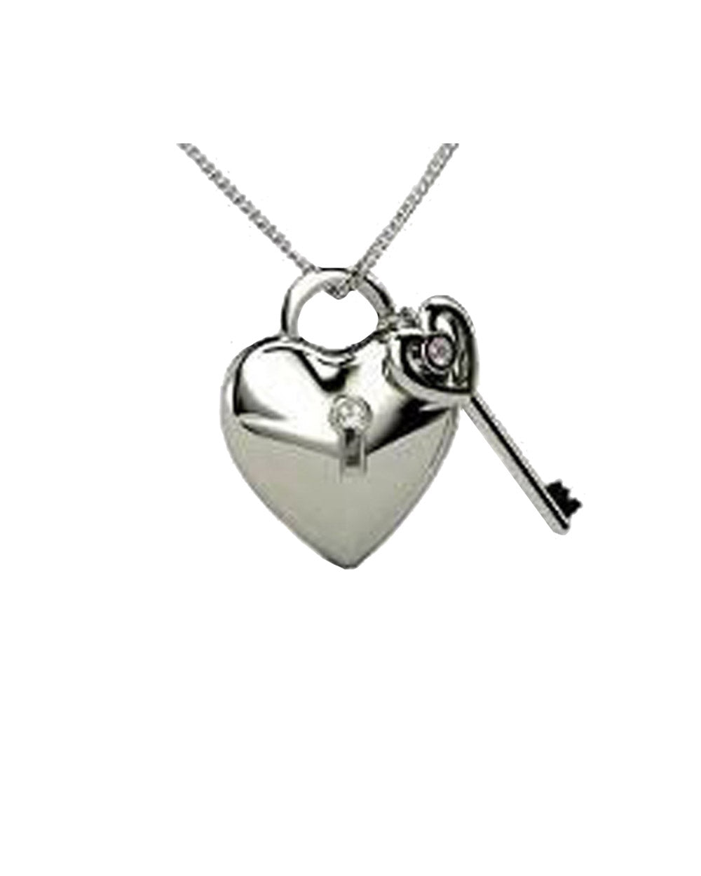Heart with Key Charm in Sterling Silver