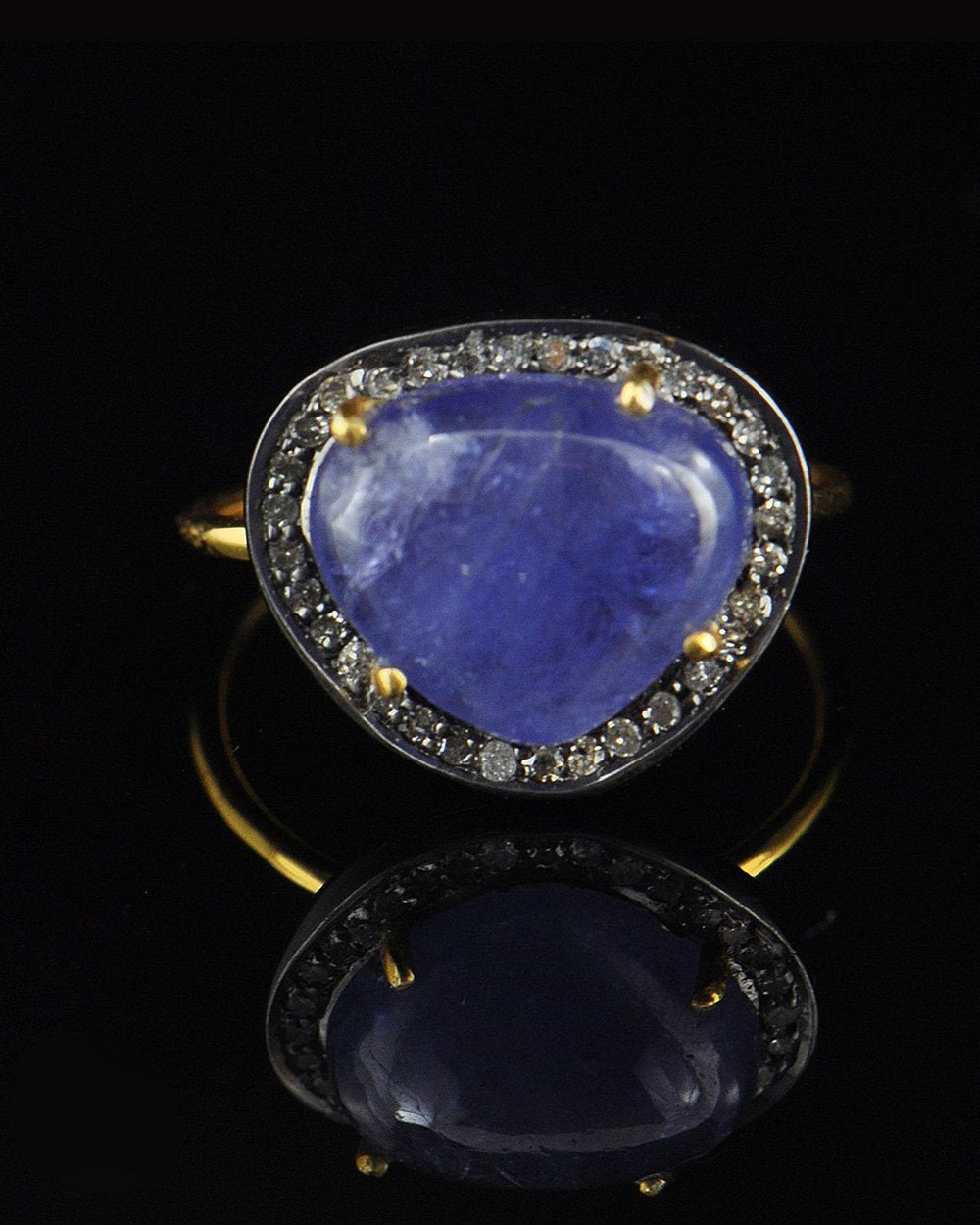 Natural Heart Shape Tanzanite Diamond Ring
