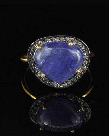 Heart Tanzanite and Antique Cut Diamonds Alternative Engagement Ring