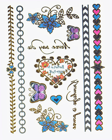 Enchanted Garden Metallic Flash Tattoo Pack - Silver Trendz