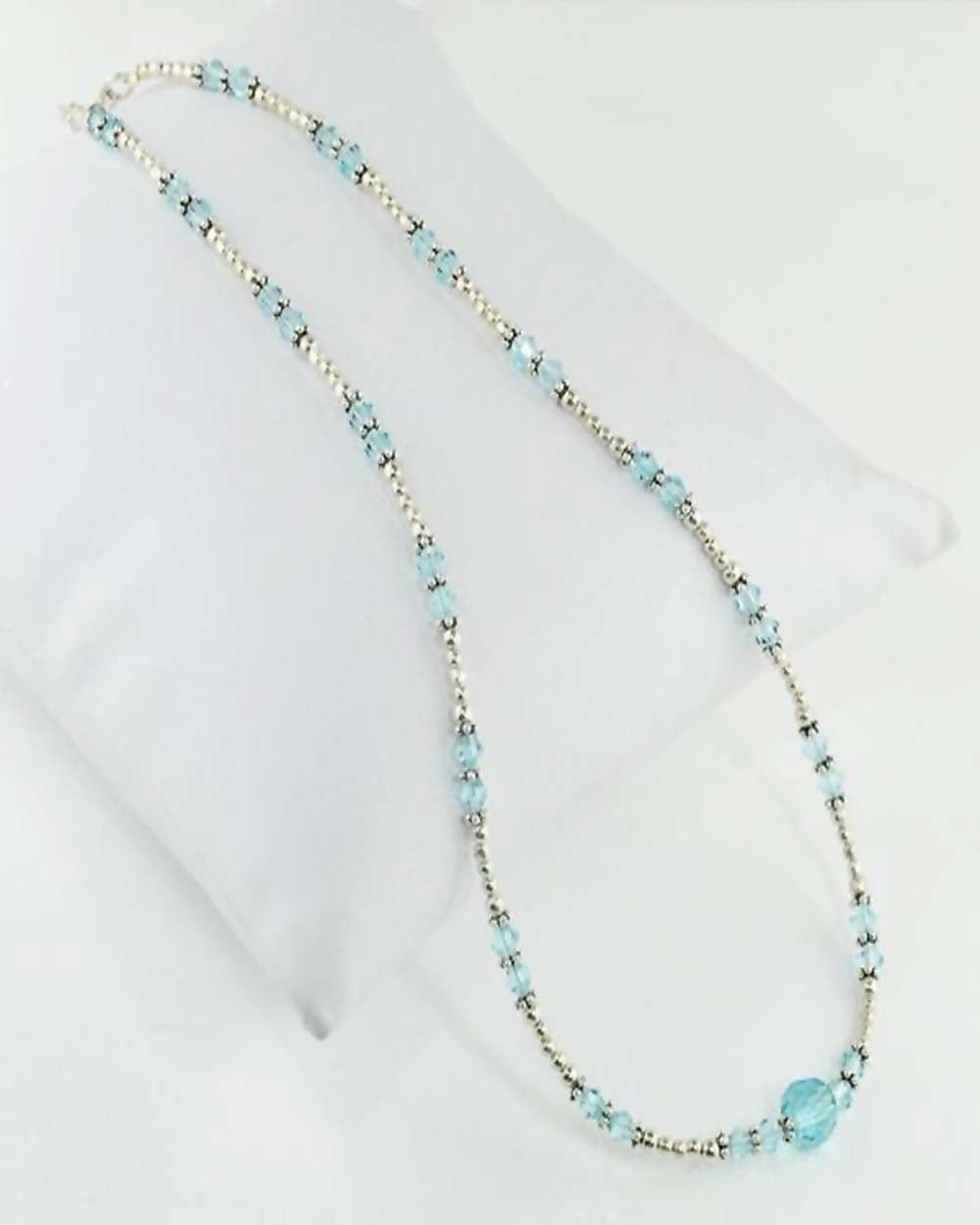 Inner Balance Blue Crystals and Sterling Silver Necklace