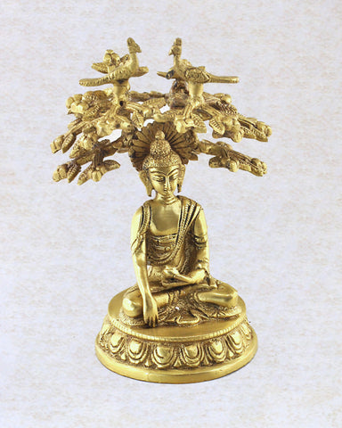 Intricate Hand Carved Brass Bodhi Tree Buddha Statue - Sivalya