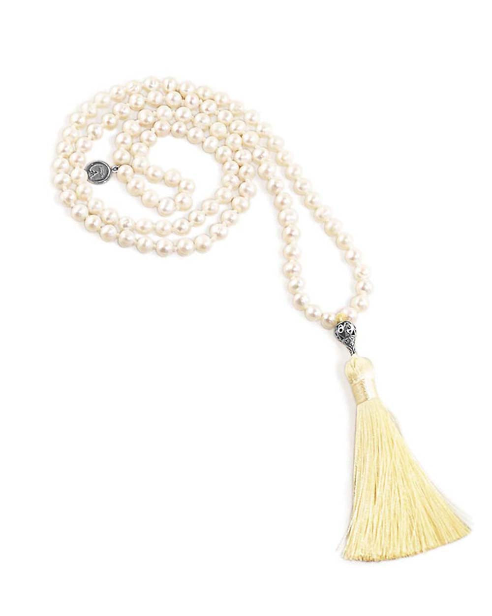Intuitive Reflections Mala White Pearls