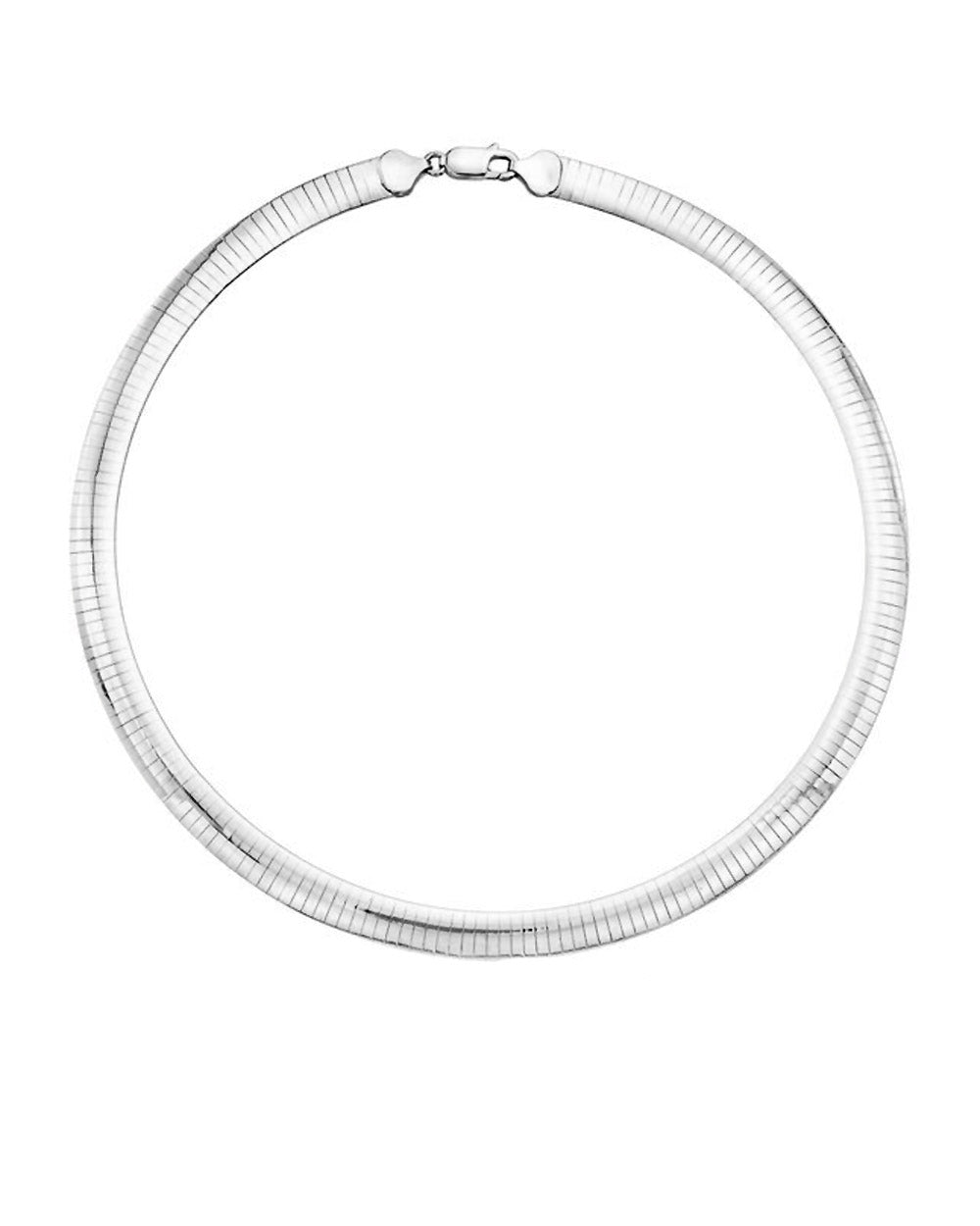 Classic Italian Omega Choker Necklace Reversible in Sterling Silver