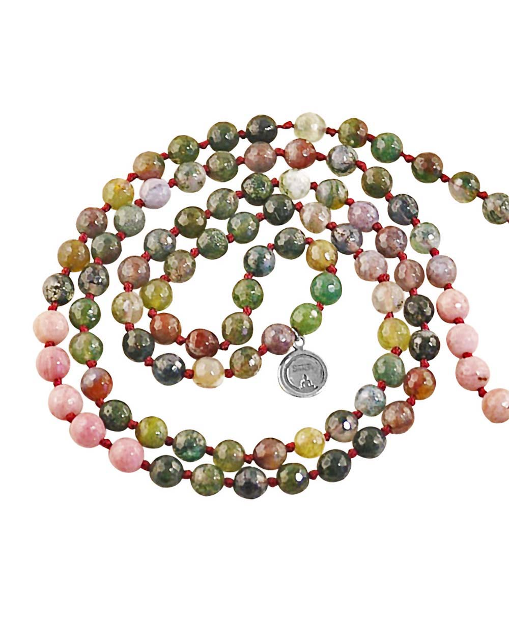 Earth Element Jasper and Rhodonite 108 Beads Mala with Silver Om Guru Bead