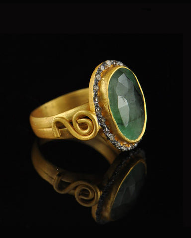 Vintage Emerald and Rose-Cut Diamonds Halo Ring