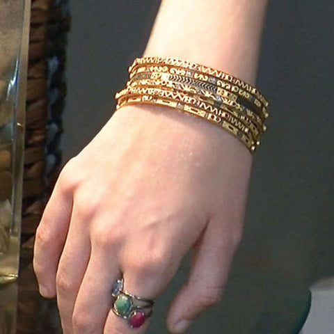Rose Cut Diamonds Bangle Bracelet in Gold Vermeil