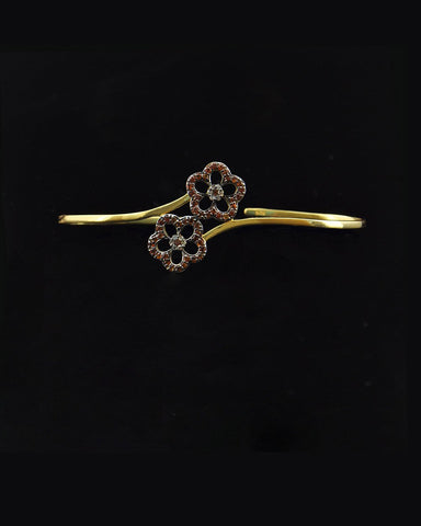 Hand Palm Bracelet with Diamonds and Sapphire Flowers