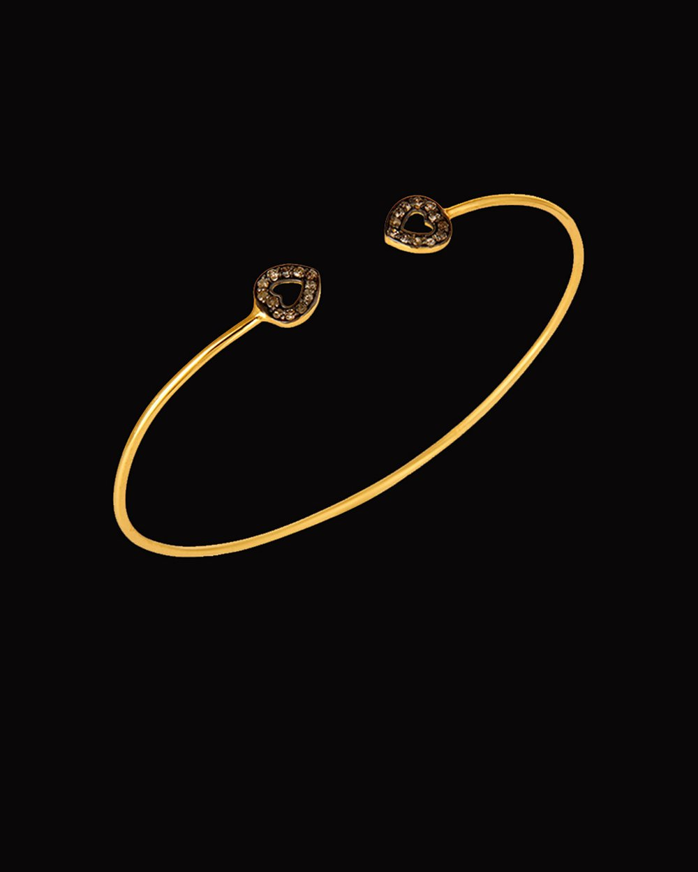 Double Heart Diamonds Adjustable Cuff Bracelet in Gold Vermeil