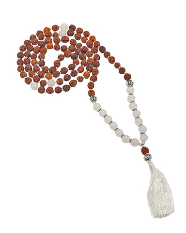 Journey Rudraksha and Moonstone Mala