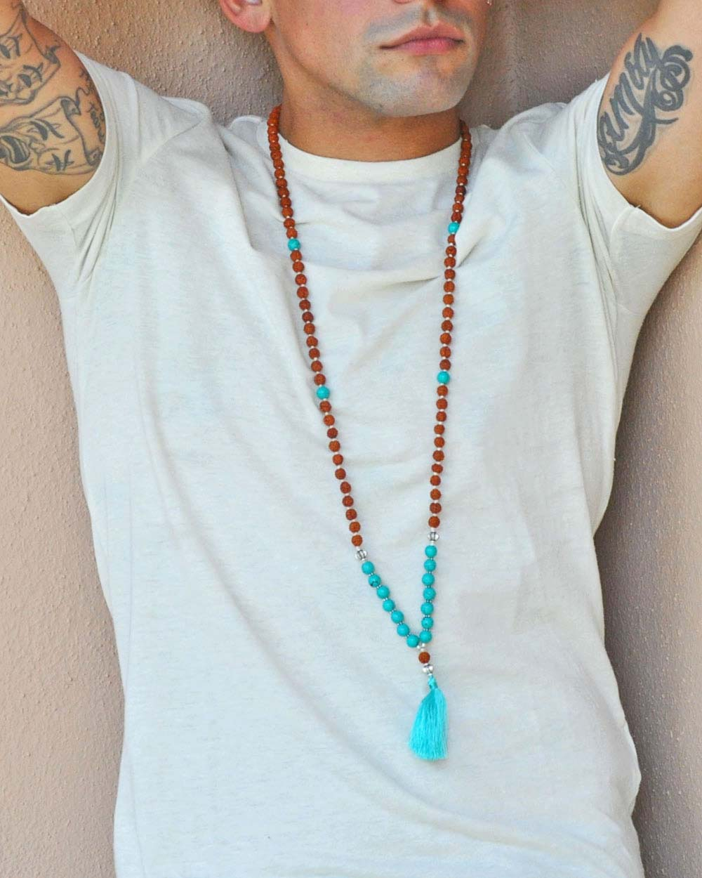 Journey Rudraksha and Turquoise Mens 108 Beads Mala Prayer Necklace