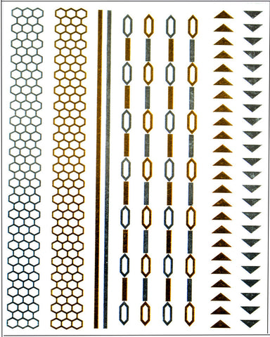 Kendall Hair Tattoo Pack - Gold and Silver - Silver Trendz