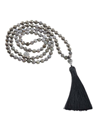 Labradorite and Pyrite Mala Reflective Mindfulness