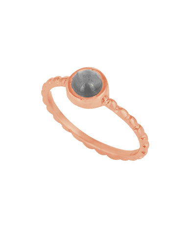 Labradorite Pinky Ring in Textured Rose Gold