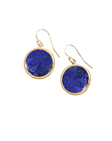 Lapis Lazuli Round Gem Drop Earrings