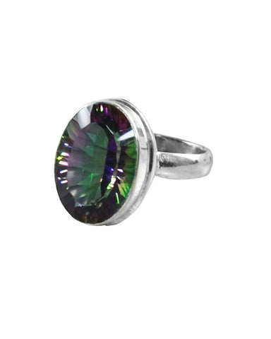 Large Oval Cushion Cut Fire Mystic Topaz 925 Sterling Silver Ring