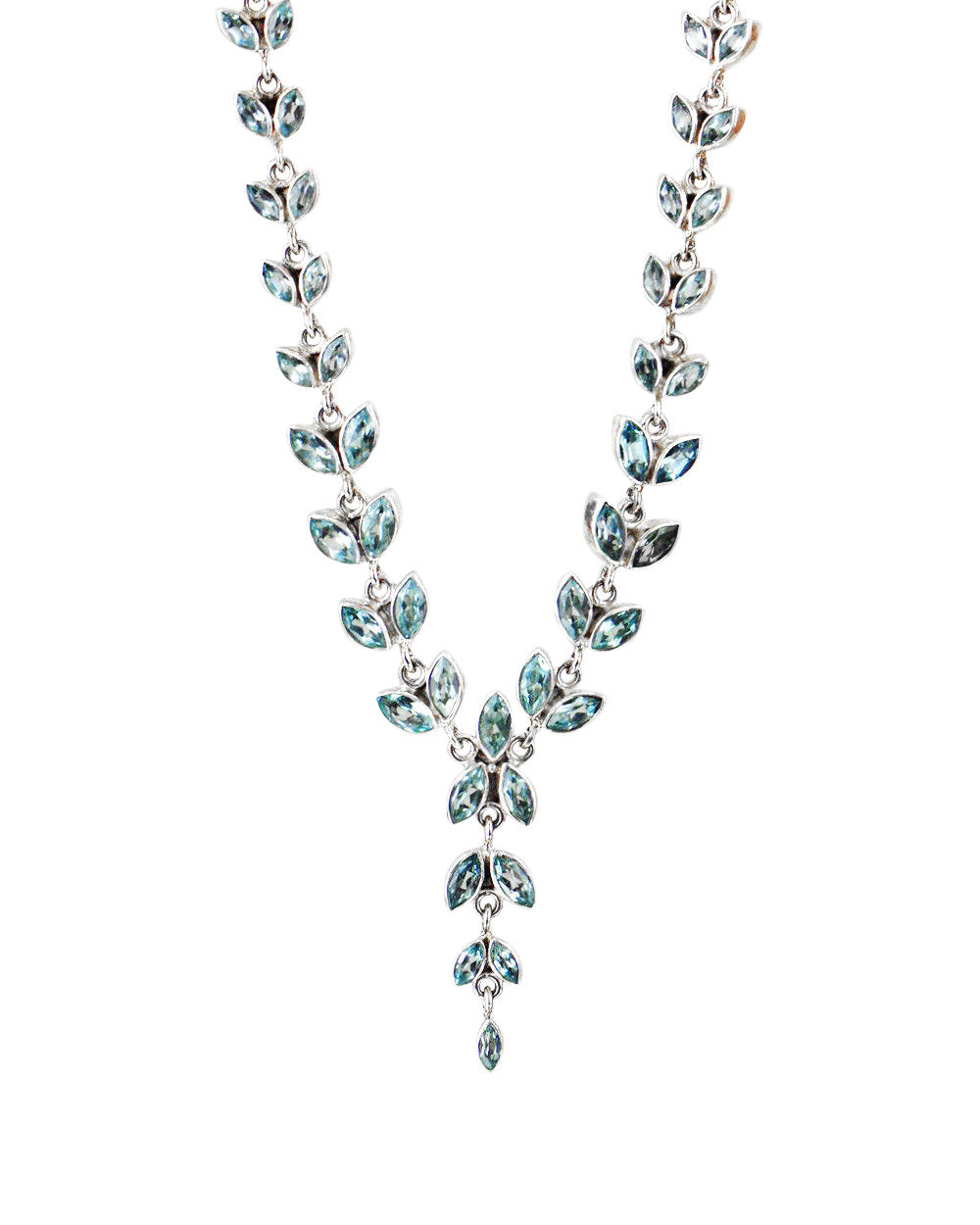 Lotus Buds Blue Topaz Sterling Silver Necklace
