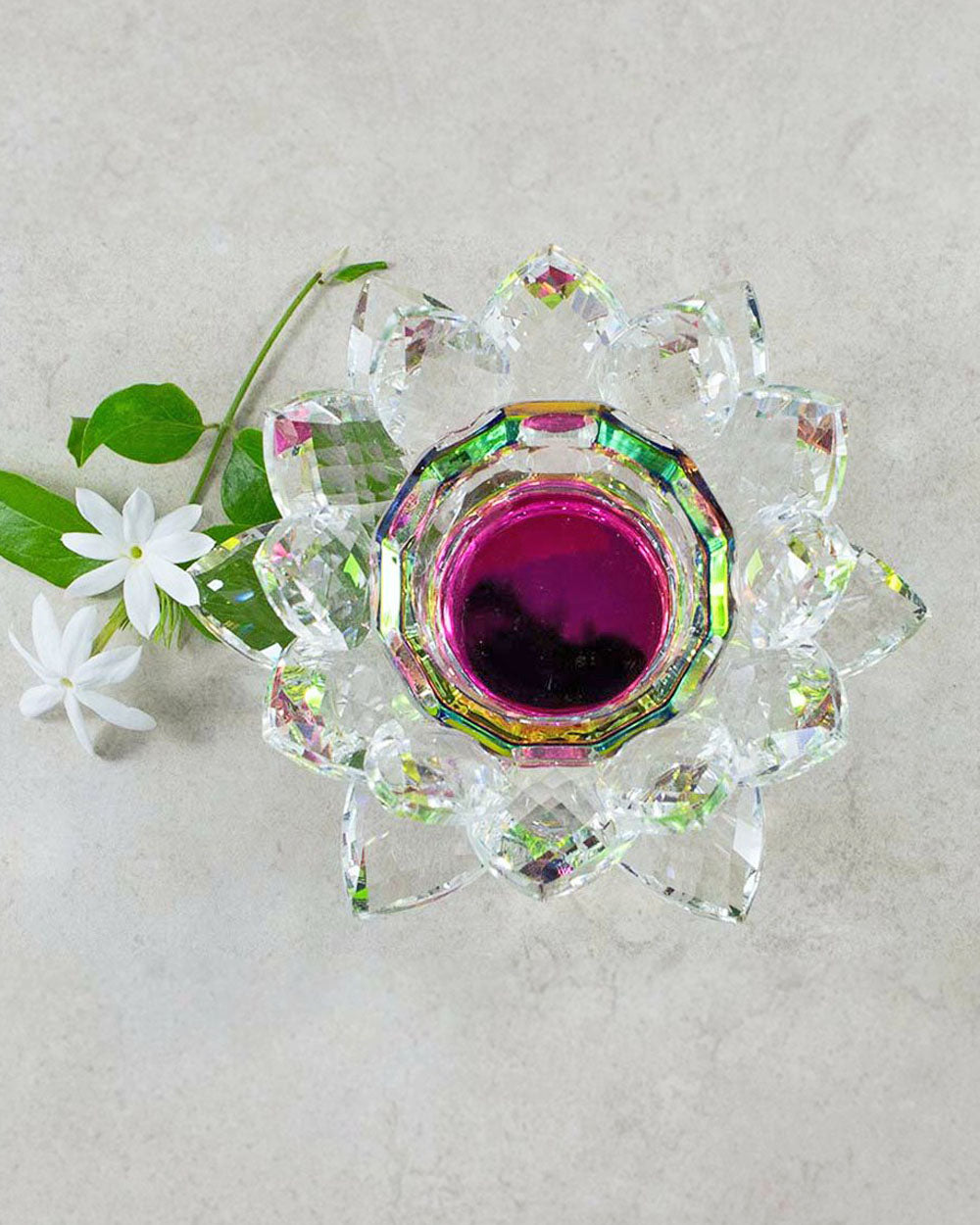 Lotus Crystal Candle Holder
