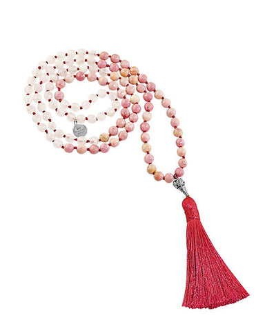 Love and Abundance Mala Rose Quartz and Rhodonite
