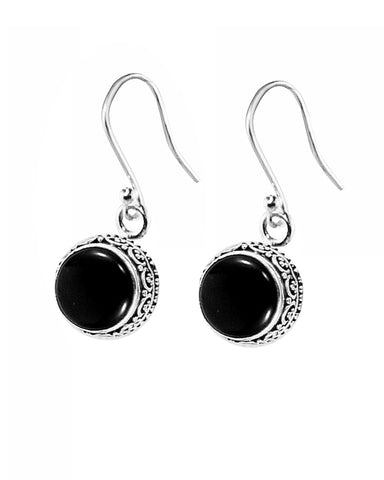 Luminous Black Onyx Sterling Silver Earrings
