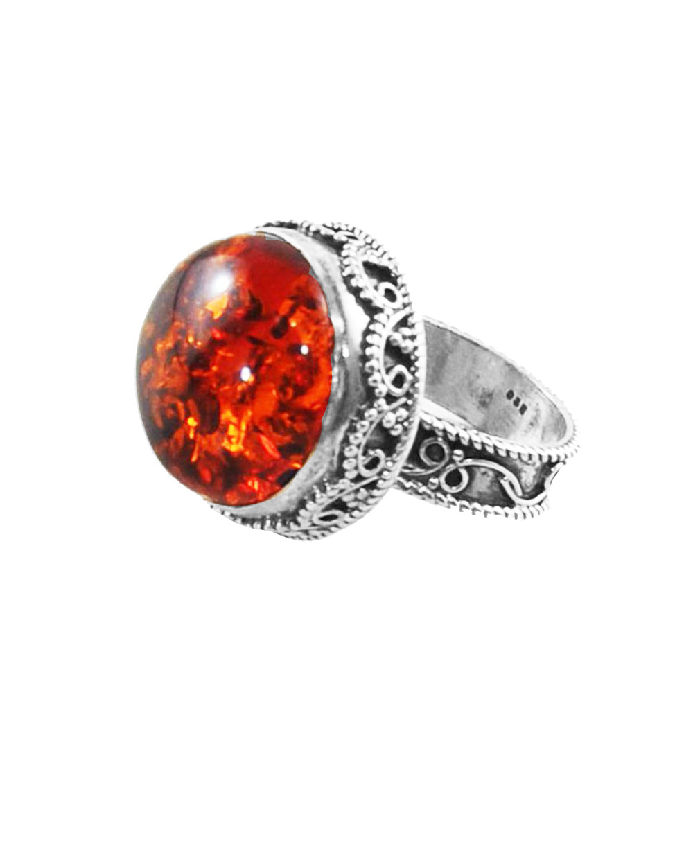 Luminous Amber Sterling Silver Statement Ring