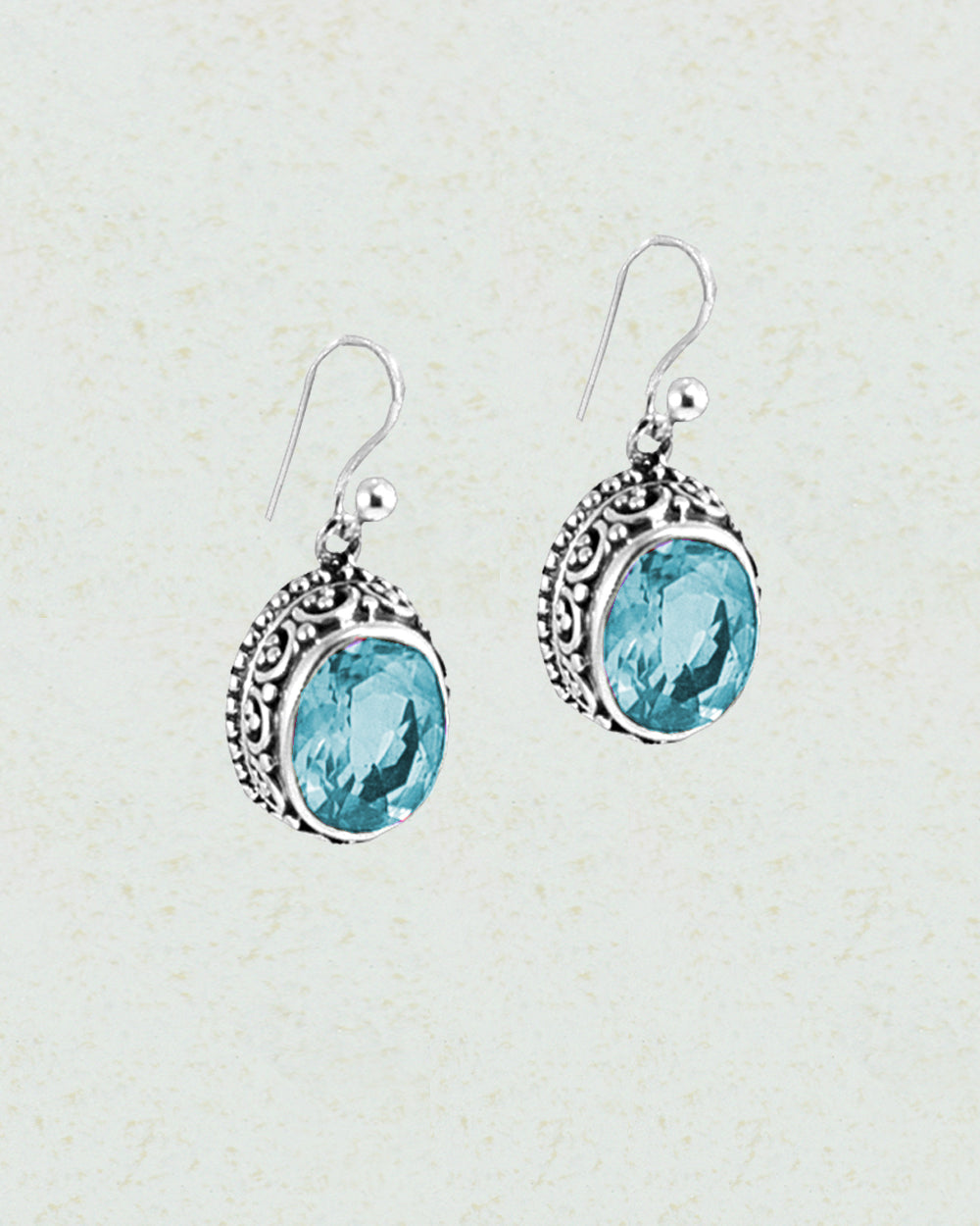 Lustrous Cushion Cut Blue Topaz Sterling Silver Earrings