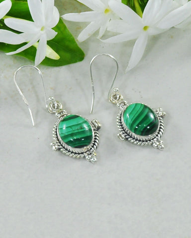 Bhakti Malachite Earrings in Sterling Silver