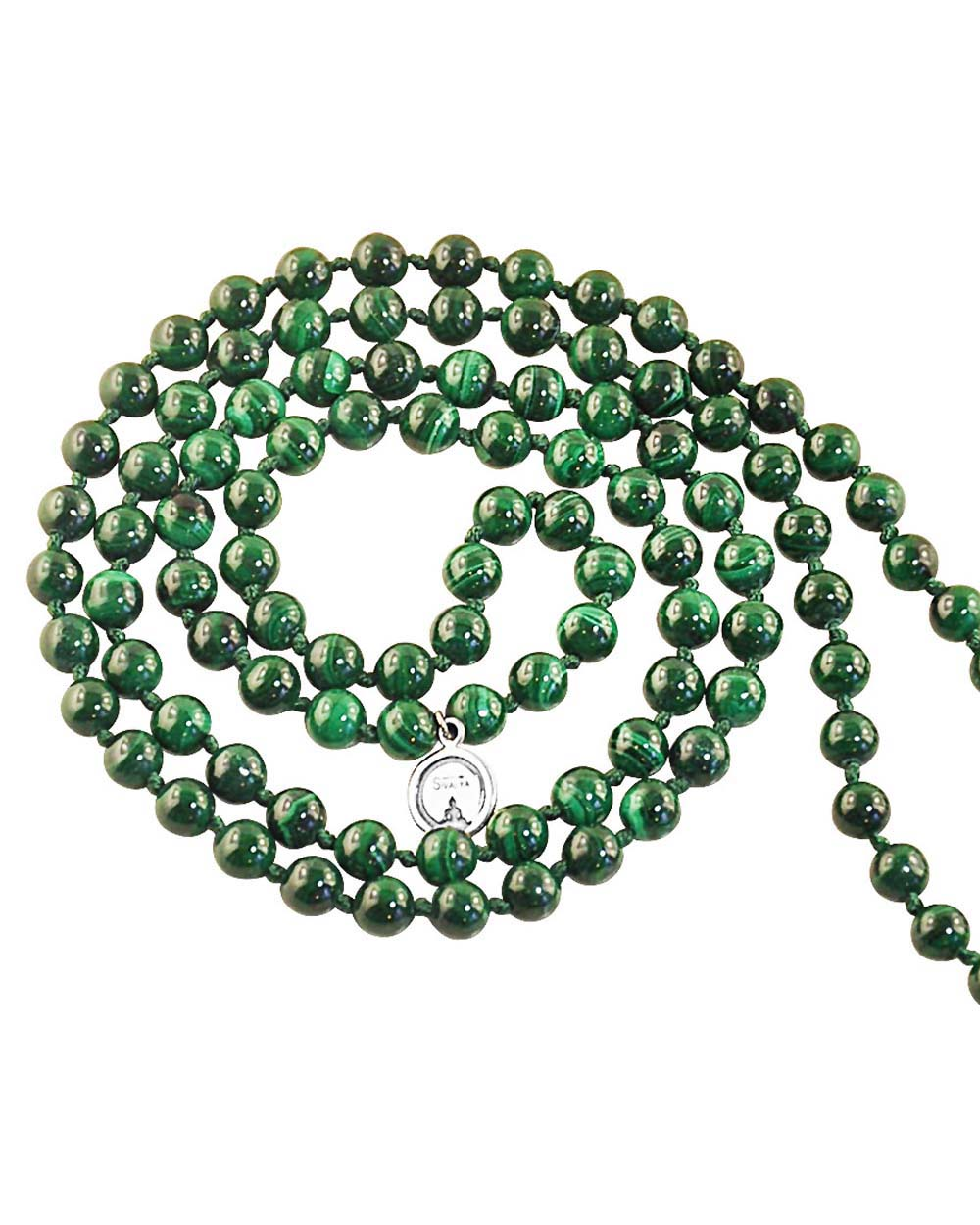 Earth Element Malachite 108 Beads Mala with Silver Eye Guru Bead