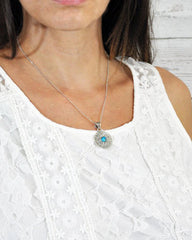 Mandala Pendant Sterling Silver Necklace - Turquoise