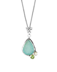 Mantra Agate Druzy 925 Sterling Silver Pendant Necklace