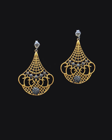 Mid Century Gold Chandelier Antique Cut Diamond Earrings