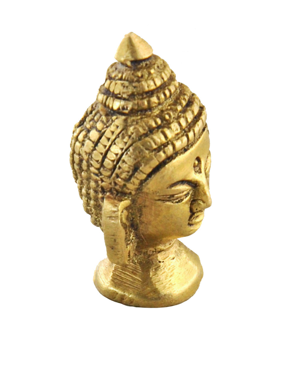Mini Buddha Head Brass Statue