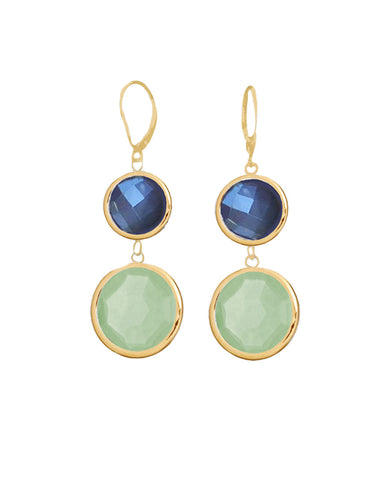 Moonstone and Aqua Chalcedony Double Drop Earrings