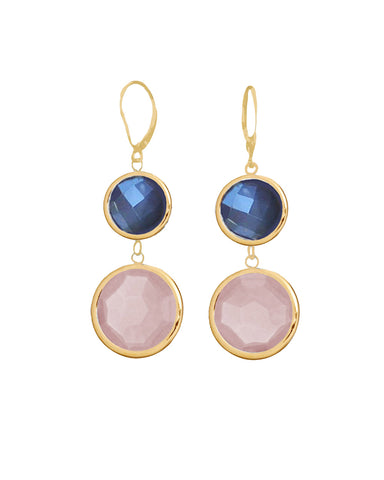 Moonstone and Rose Quartz Double Drop Earrings