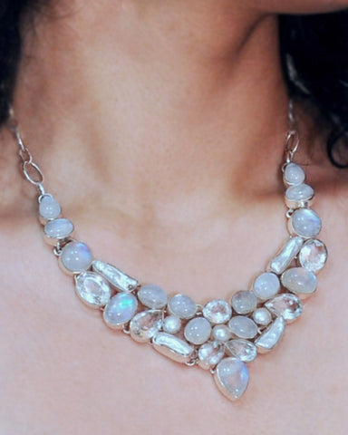 Moonstone, Crystals and Pearls Statement Necklace in Sterling Silver