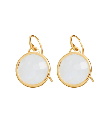 Moonstone Round Gem Drop Earrings