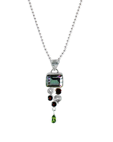 Myna Mystic Topaz Designer Pendant Necklace in 925 Sterling Silver