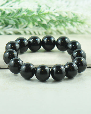 Natural Black Onyx Large 12mm Beads Wrist Mala | Beaded Bracelet - Sivalya