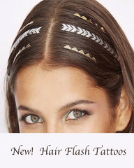 Metallic Gold Hair Tattoos Pack - Silver Trendz  - 1