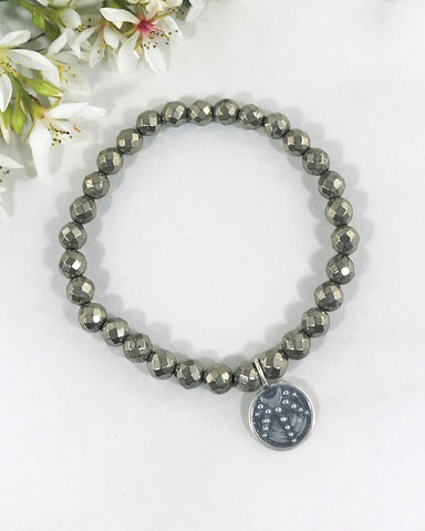 Nourishing Reflections Moon and Pyrite Bracelet Sterling Silver
