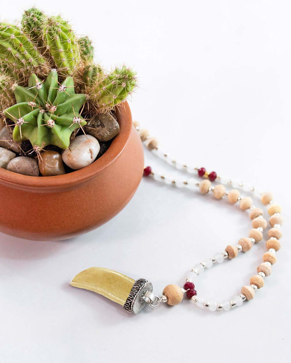 Ojas Shark Tooth Amulet and Tusli 108 Power Beads Mala Necklace