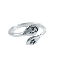 Om Lotus Pinky Ring in Sterling Silver