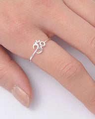 Om Symbol Pinky Ring in Sterling Silver