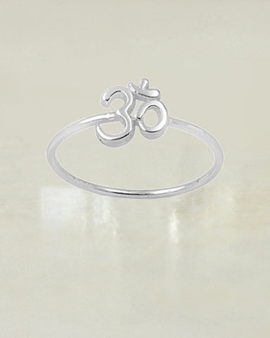 Om Ohm Symbol Sterling Silver Ring