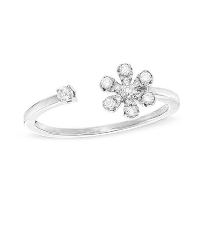 Pretty Flower Sterling Silver Ring Adjustable