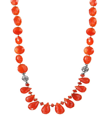 Orange Carnelian Drops Sterling Silver Necklace