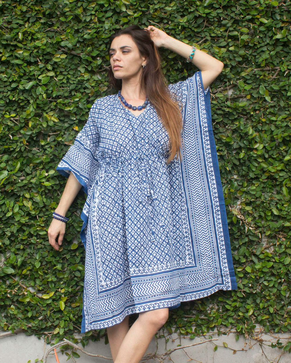 Keywest Organic Cotton Kimono Dress Indigo
