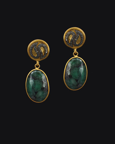 Oval Emerald and Diamond Vintage Drop Earrings