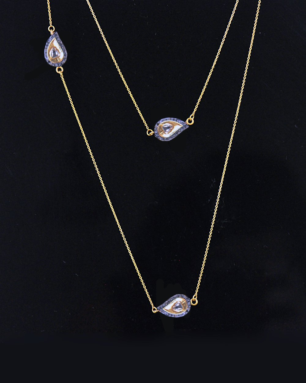 Paisley Rose Cut Diamonds Long Layering Necklace