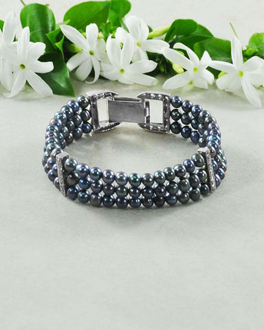 Peacock Blue Pearls Three Layered 925 Sterling Silver Bracelet